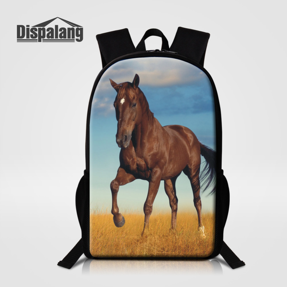 Dispalang 16 Inch Backpacks For Teenage Horse Printing School Bags Kids Rucksack Animal Back Pack For Children Mochila Infantil