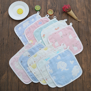 Infant 6 layers Face Towel Bibs 25*25cm Feeding Cotton Gauze Newborn Baby Square Towel Handkerchief Baby Face Towel 3pcs/lot six layers of gauze cotton square towel children towel fold a handkerchief plain printed saliva towel