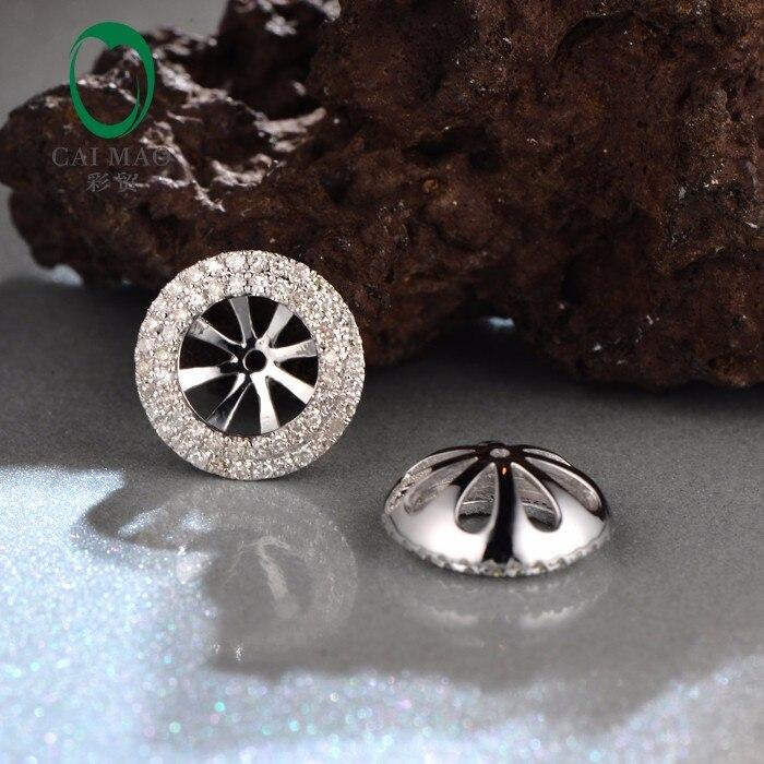 Caimao 6mm Round Cut 14kt White Gold Diamond Semi Mount Earrings Jackets