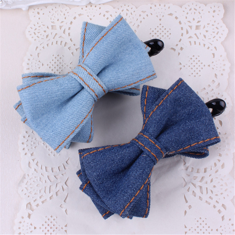 High Quality Three Layers Solid Color Denim Bow Banana Hair Clips For Women Hair Barrettes For Girls Hair Accessories