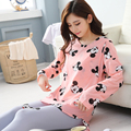 Pregnant women pajamas Korean loose clothing maternity long sleeve sleepwear cotton cute cartoon out month lactation clothes