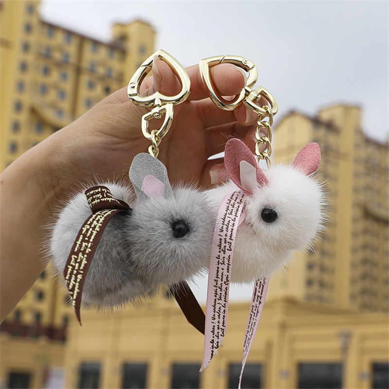 Bonito Fluffy Mini Chaveiro de Coelho Genuína Pele De Vison Chaveiro Para As Mulheres charme Saco Brinquedos anel pingente De Metal do telefone Móvel chaveiro
