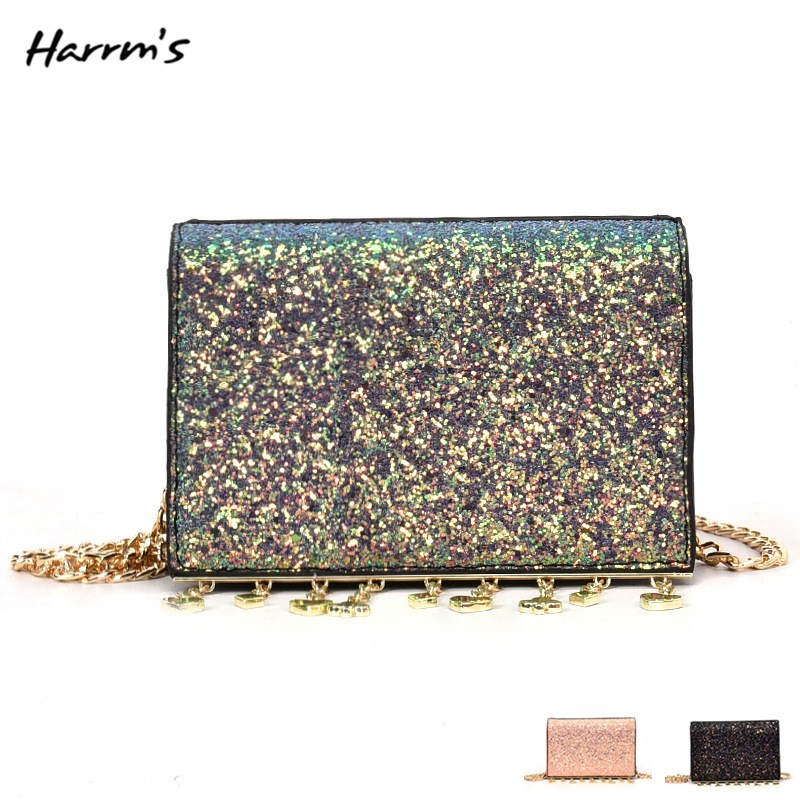 New Fashion Bag Shinning Womens Clutch Sequins Star Pouch Shoulder Handbag Chain Messenger Flap Party High Quality Tassel Bags