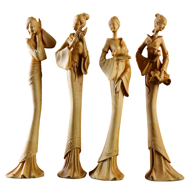 The Four Great Beauties statue chinese wooden sculpture Wood decoration Delicate figure home wood craft