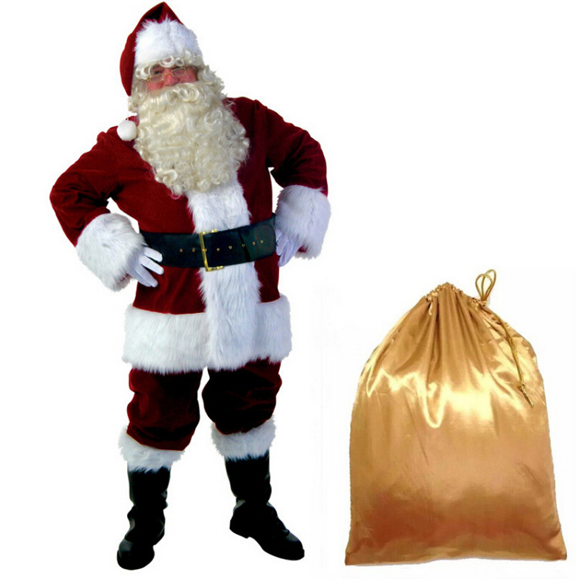Christmas Snowman Santa Claus Thickening High Quality Cotton Luxury Uniform Cosplay Costume 9 Pcs+Free Bag Adult Christmas