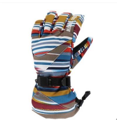 Mens colorful stripes ski gloves male skateboarding skiing gloves winter outdoor sports gloves good quality waterproof 10K