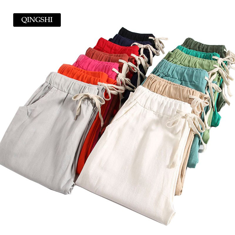 M-3XL Womens Cotton Linen   Pants   13 Candy Colors Womens Casual   Pants   Summer Trousers Mid Waist Ankle-Length   Pant     Capris   Plus Size