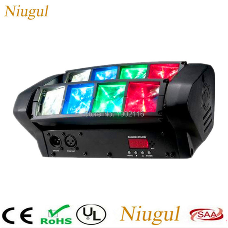 Niugul High quality DMX512 stage effect lights 8x10W Mini Led Spider light rgbw led Beam ktv party dj disco lighting Scan lights rgbw led eight beam fan beam light led wedding decoration party performance party bar stage dj scanning beam effect disco lights