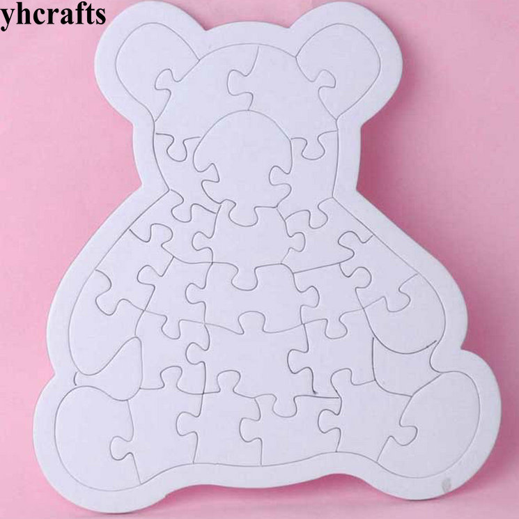 10PCS LOT Paint blank bear puzzle Puzzle games Kindergarten arts and crafts Early learning educational toys