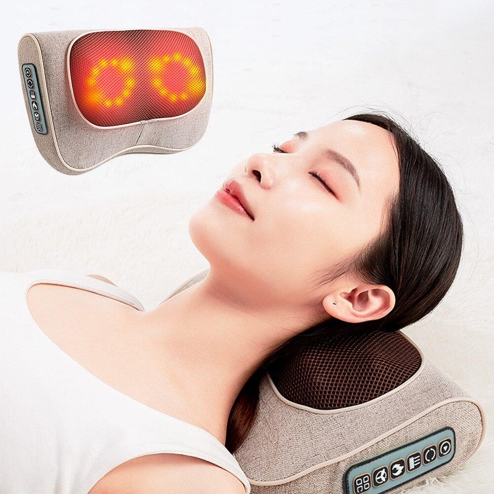 6/4 Button Neck Massage Pillow Neck Healthy Massageador Infrared Heating Multifunctional Shiatsu pillow Device Relieve Pain6/4 Button Neck Massage Pillow Neck Healthy Massageador Infrared Heating Multifunctional Shiatsu pillow Device Relieve Pain