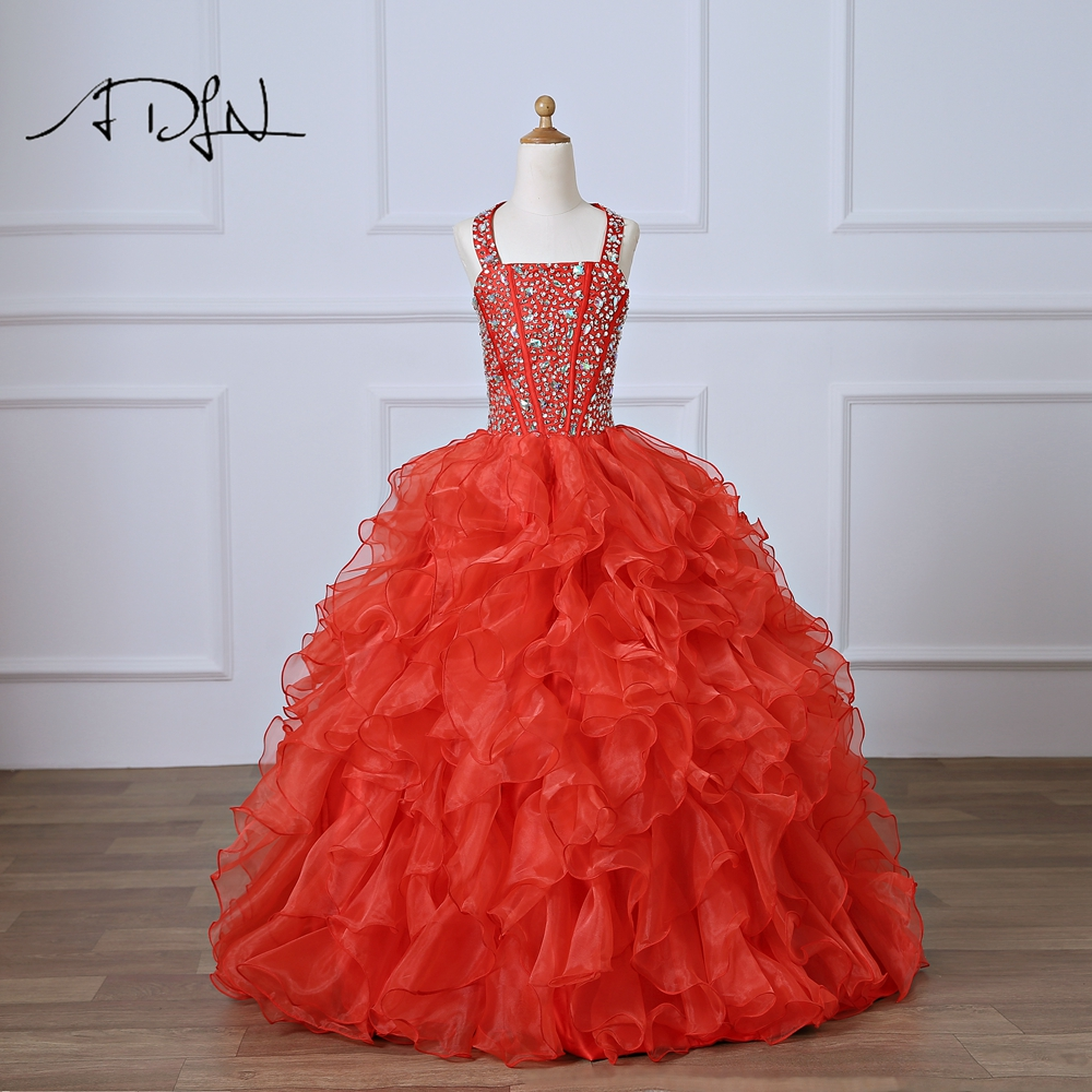 ADLN Red   Flower     Girl     Dress   First Communion   Dresses   for Baby Ball Gown Floor-length Beaded Custom Made Kids Pageant Gown