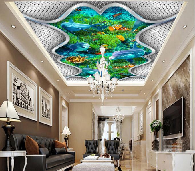 Custom 3d wallpaper 3d ceiling wallpaper murals underwater world dolphins and sea turtles algae zenith ceiling murals wall decor