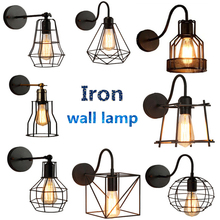 Creative Iron Cage E27 Wall lamp Retro Industrial Wind Aisle Wall light For Bedside Corridor Balcony Cafe Restaurant Bar Decor nordic vintage edison barn lantern iron kerosene lamp oil wall light aisle industrial cafe bar hall club store restaurant