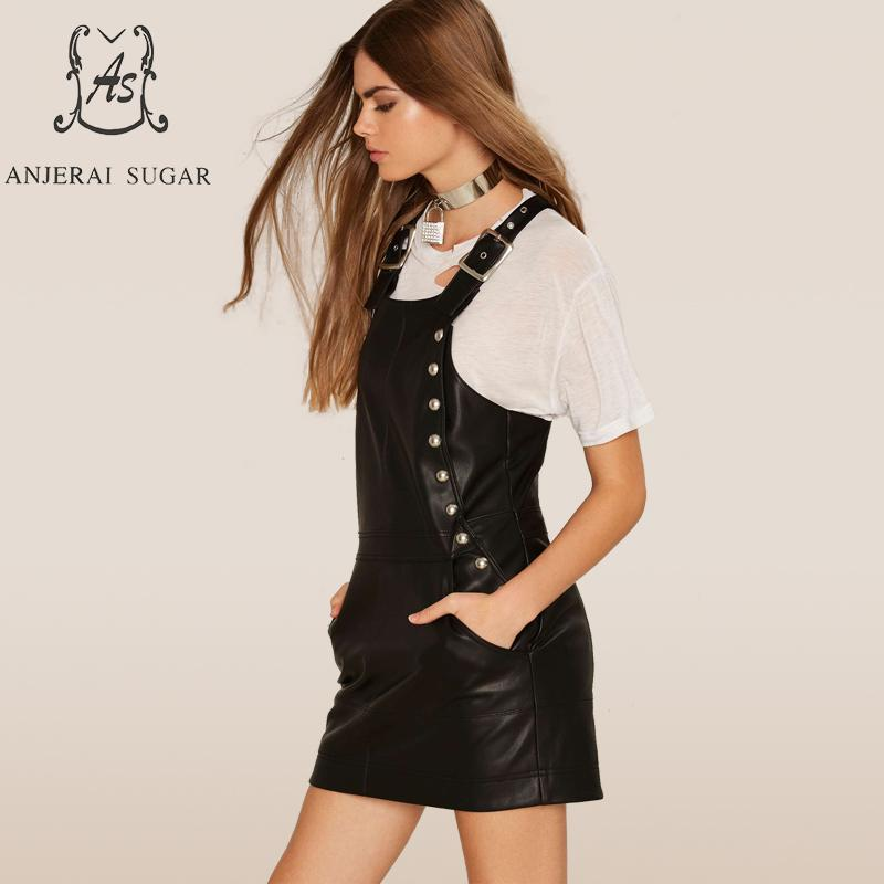 Véritable Printemps Sexy Courte Automne Noire Rivet Cuir Robes Des Bretelles Sans Mince Noir Femmes De En Manches Agneau Robe 1qFpfq