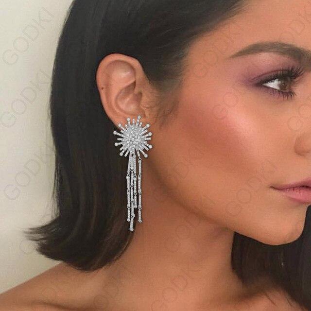 GODKI boucles doreilles de luxe en zircone cubique pour femmes, Long pendentif, boucles doreilles avec pompon, mariage, 2018