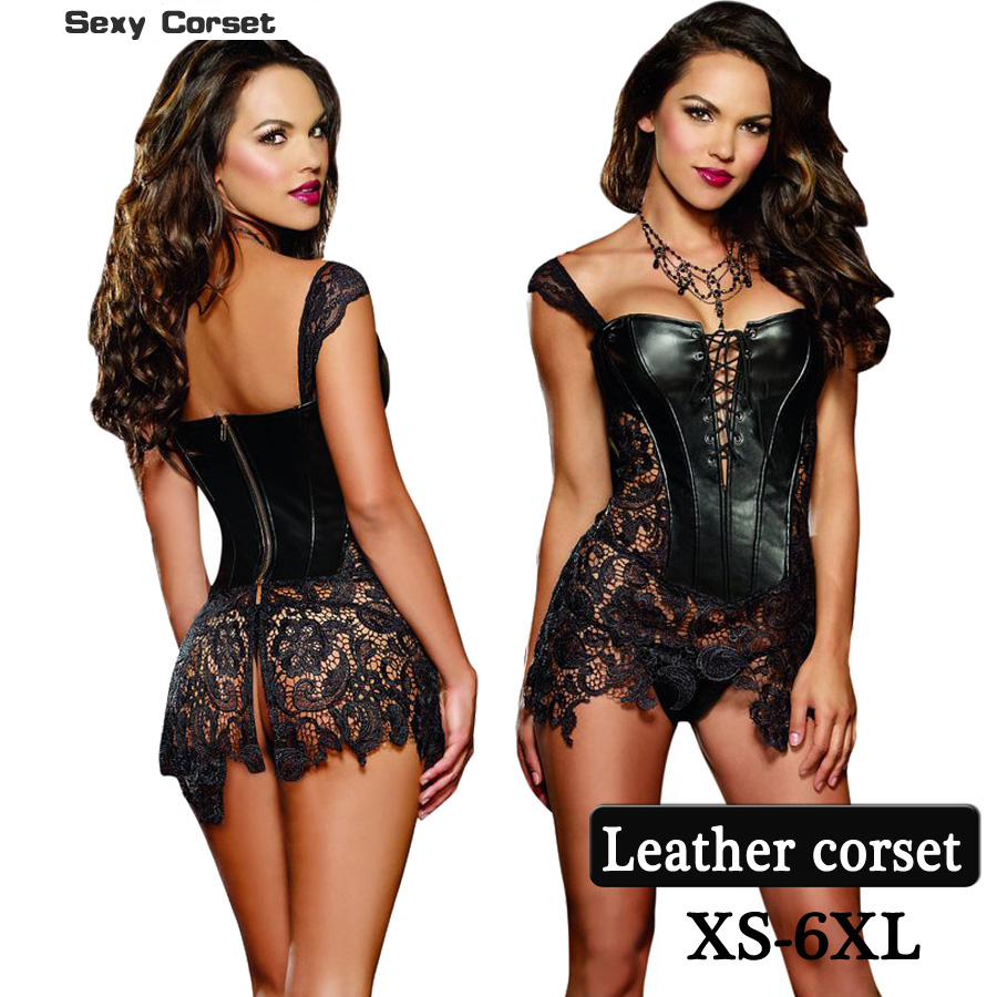 2018 Hot Women's Steampunk Gothic Corset  Faux Leather Lace Skirt Bustier Corset plus size with S-6XL