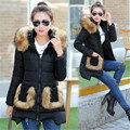 2016 New Winter Womens Slim Down Cotton Long Coat Fur collar Warm plus size