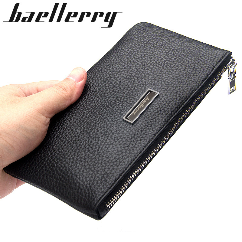 все цены на Genuine Cow Leather Men Lichee Pattern Slim Soft Long Zipper Wallet Male Coin Purse Money Pocket Pochette Clutch Bag Card Holder