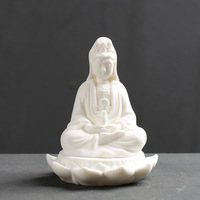 The Sitting Lotus Guanyin Living Room Ornaments High end Car Buddha Ceramic Home Decor White Best Wedding Gift Desk Decoration