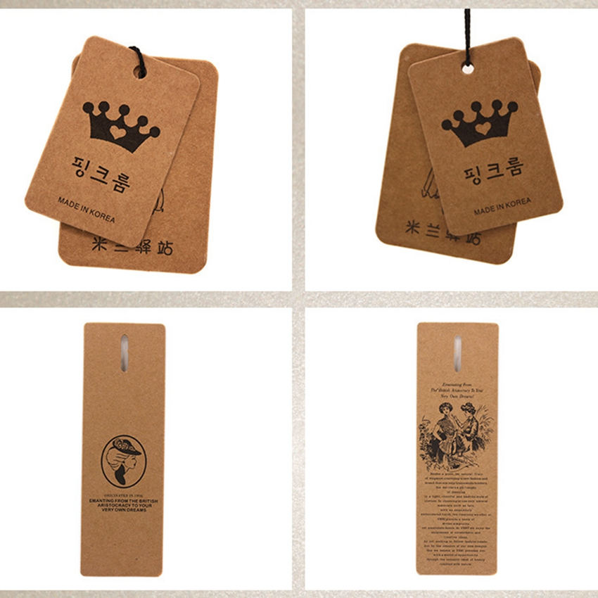 ZeQi trasporto libero 350gsm carta kraft modifica di caduta etichetta di marca indumento cartellini dei prezzi per i vestiti-in Cartellini per indumenti da Casa e giardino su  Gruppo 2