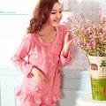 Das mulheres da primavera pajama define mulheres pijamas definir cardigan magro salão plus size de algodão de manga comprida Women 's 100% parágrafo
