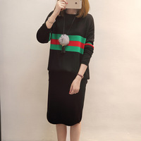 2018 Spring New Fashion Plus Size Panelled Women Round Neck Knitted Sweater Black Knee Lengt Skirt