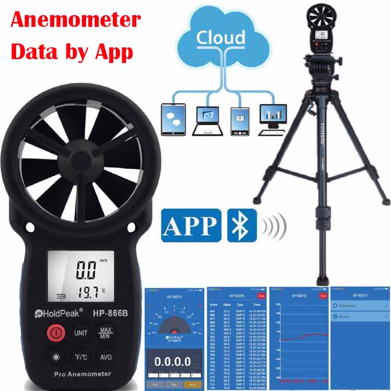 Digital Anemometer HoldPeak 866B-APP With Mobile APP Wind Speed Meter Measuring Instruments Wind Chill With Backlight Anemometer цены