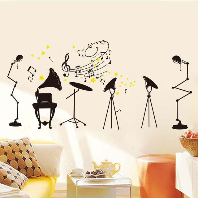 Creative Fashion ROCK Musical Instrument DIY Wall Stickers Music Room  Living Room Decor Mural Decal Wallpaper