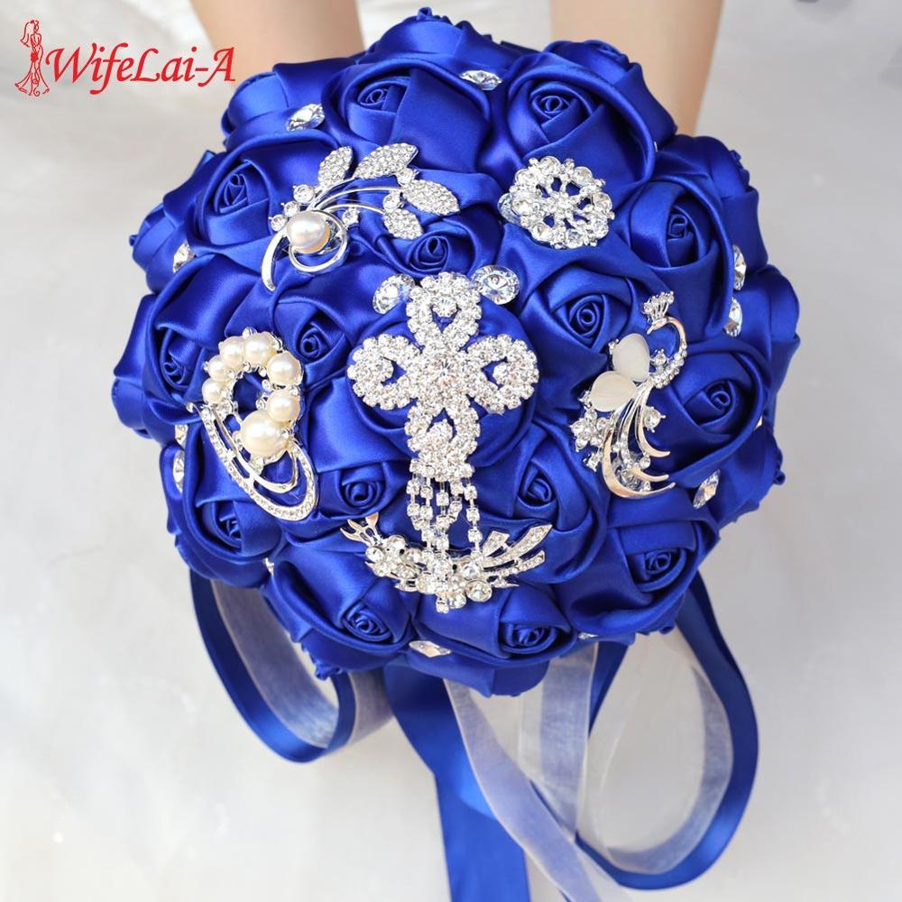 WifeLai-A RoyalBlue Wedding Bride Bouquet Artificial Flower Bridal Silk Crystal Rose Marriage Bouquet For Bridesmaid Beaded W235