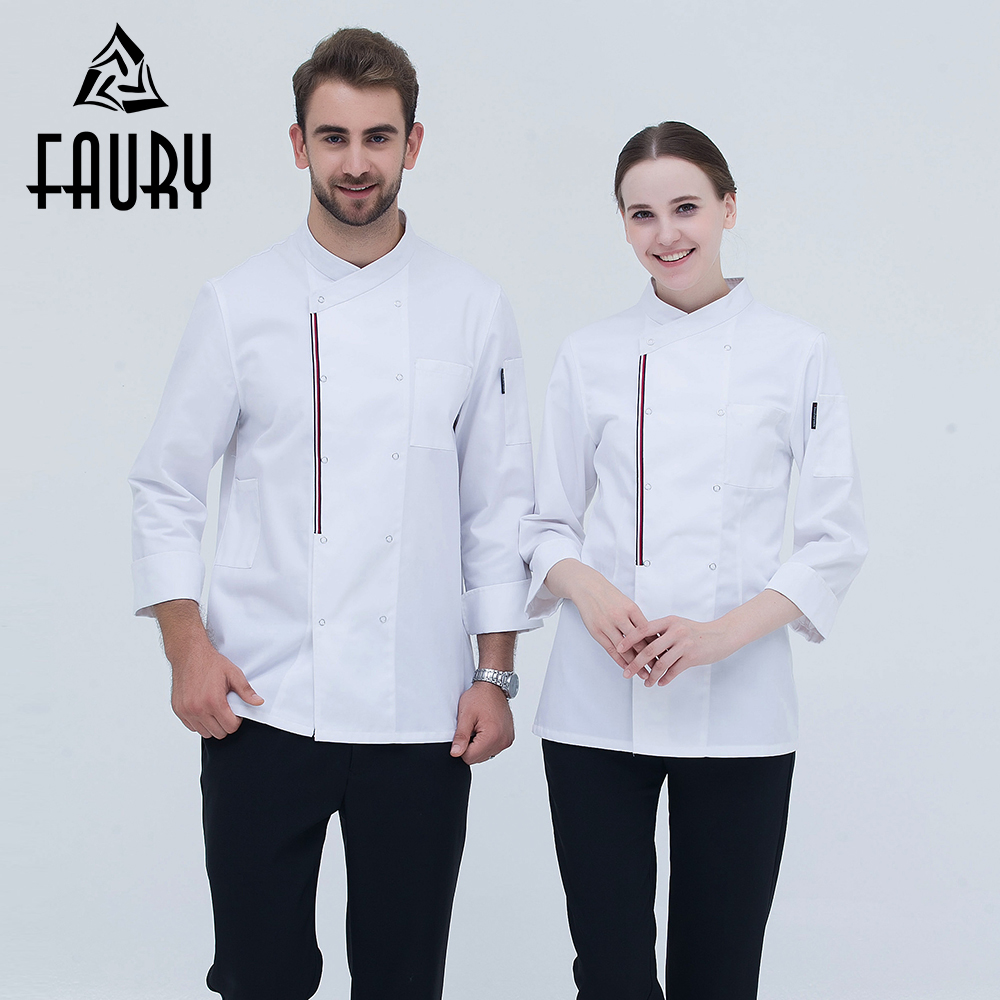 Restaurant Kitchen Work Uniforms For Master Cook Coat Catering Long Sleeve Unisex Tops Hotel Bakery Cafe Overalls Chef's Costume