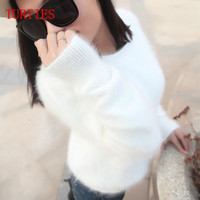 2015 New Autumn And Winter Female Mink Cashmere Sweater 2015 Women Fashion Sweater Free Shipping