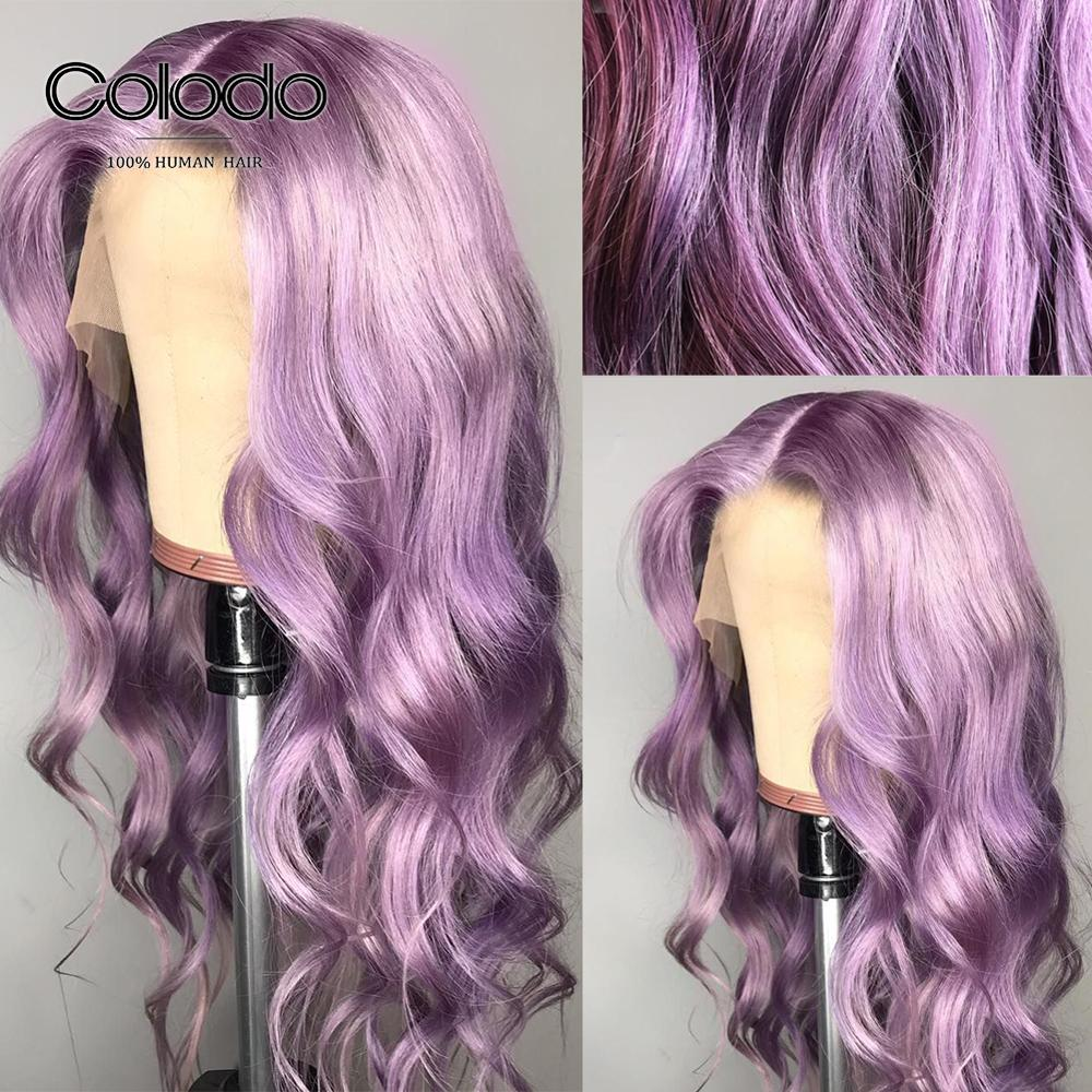 COLODO 13x4 Lace Front Human Hair Wigs Brazilian Remy Hair Loose Deep Wave Wig Purple Human