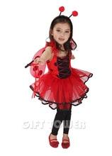 Niños mariquita cosplay fairy dress for girls holiday party dress niños traje del funcionamiento de la etapa de halloween carnaval dress gt202(China (Mainland))
