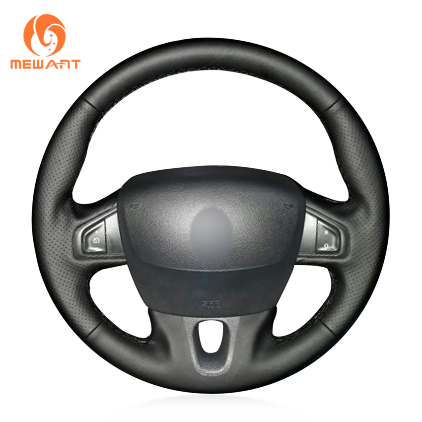 цена на MEWANT Black Artificial Leather Steering Wheel Cover for Renault Fluence Fluence ZE 2009-2016 Megane 2009-2014 Scenic 2010-2015