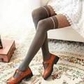 Doce laço mulheres Moda apertado Onda ponto jacquard meias altas falsos Meia-calça Meninas meias Listradas de Nylon Preto
