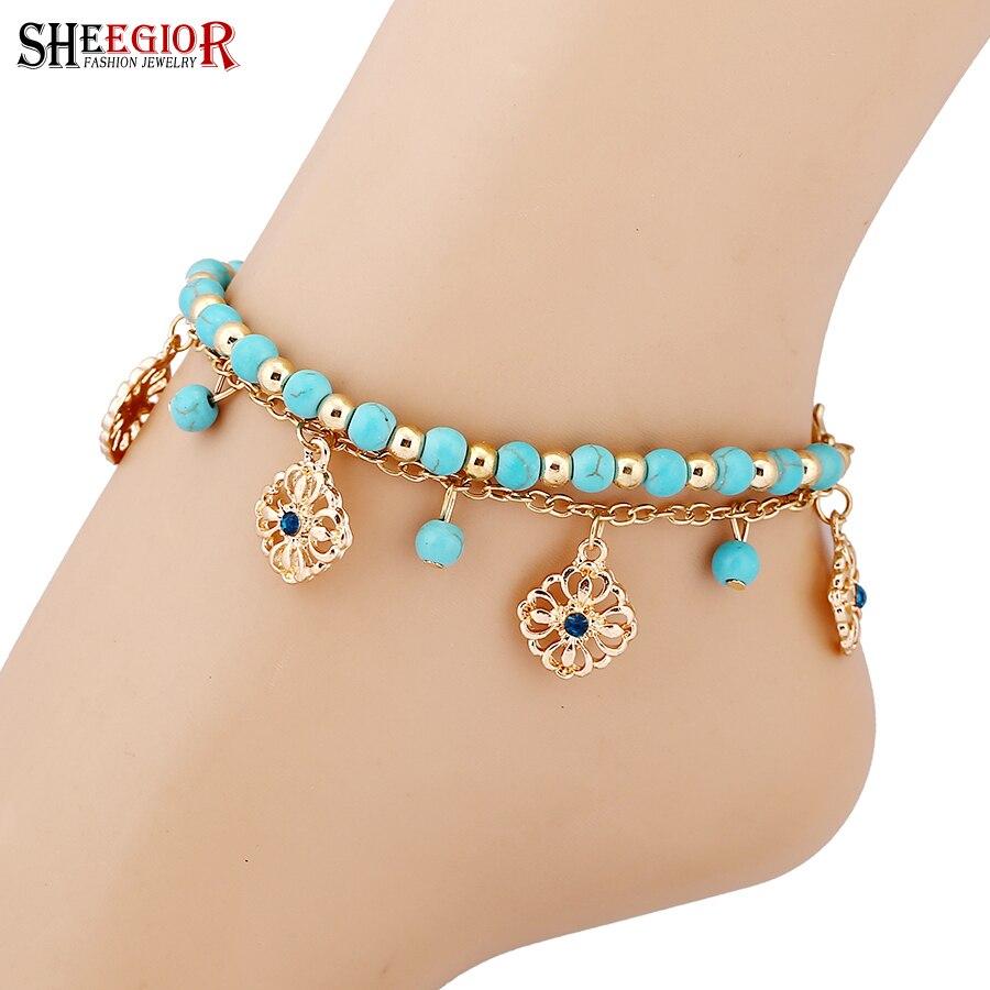 SHEEGIOR Sexy chaîne en or chaîne de pied Turquoises Bracelets de cheville pour femmes amour pieds nus sandales Rose 2 couches Bracelets de cheville bijoux de pied