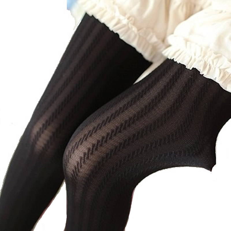 Women Girls Autumn Spring Pantyhose Thin Vertical Stripes Tights Twist Jacquard Step On Foot Stockings Free Shipping