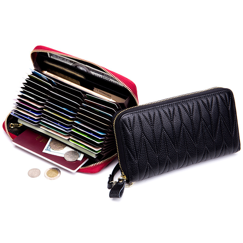 Brand New Women Leather Long Zipper Card Holder Wallets RFID Female Genuine Leather Wrist Clutch Wallets Large Capacity Purse