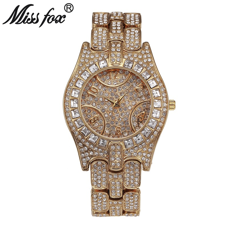 Miss Fox Brand Top Luxury Watches High Quality Women Full Rhinestone Crystal Quartz Watches Lady  Dress clocks relojes mujer top high speed full teeth piston