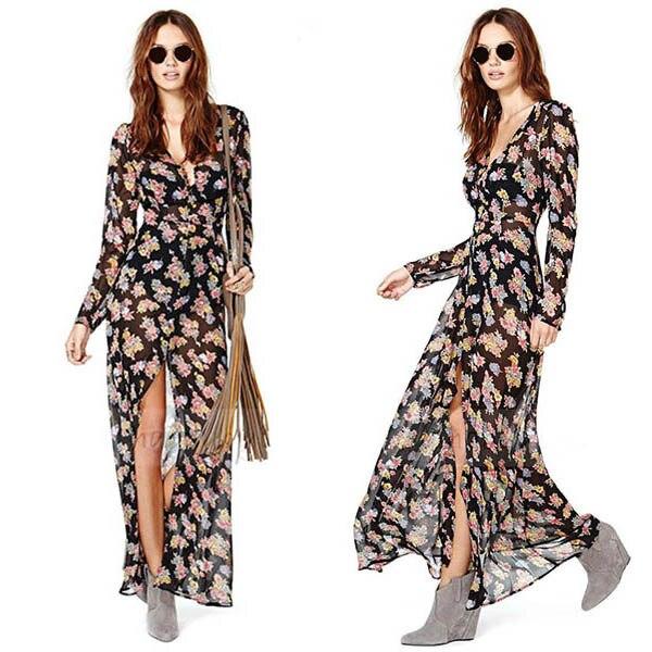 Floral maxi dress long sleeves