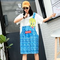 Thai street fashion chic cartoon color duck print T shirt female long section loose fake two piece ageing dress