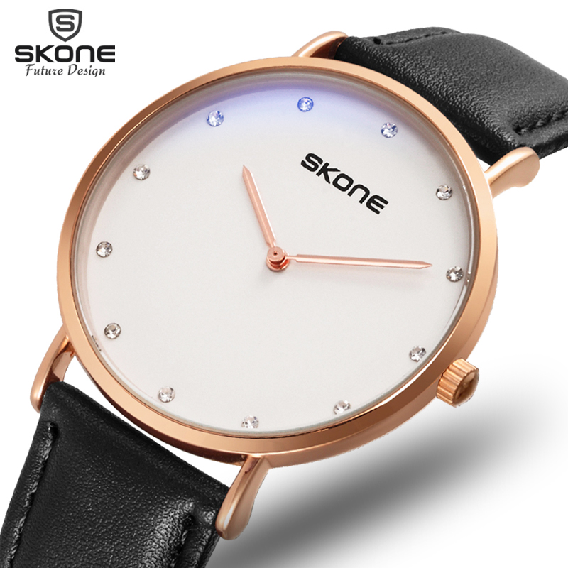 SKONE Super Thin Unisex Watches Rhinestone Scale Hour Hand Minute Hand Two-Pin Design  Quartz Movement Life Waterproof Hour