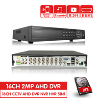16 Channel AHD DVR 1080P DVR 16CH AHD AHD H 1920*1080 2.0MP CCTV Video Recorder DVR NVR CVI TVI HVR 5 In 1 Security System