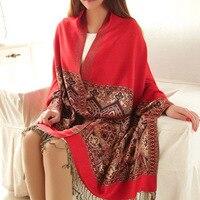 Мода Китайская Национальная Зимний Стиль Fringe Искусственного Кашемира Шарф Повелительниц Женщин Жаккардовые Шарфы Кисточкой Шали Bufanda