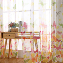 Butterfly Print Tulle Window Curtain Modern Curtains for Living Room Transparent Drapes Panel Sheer Tulle for the Bedroom butterfly print sheer tulle window curtain