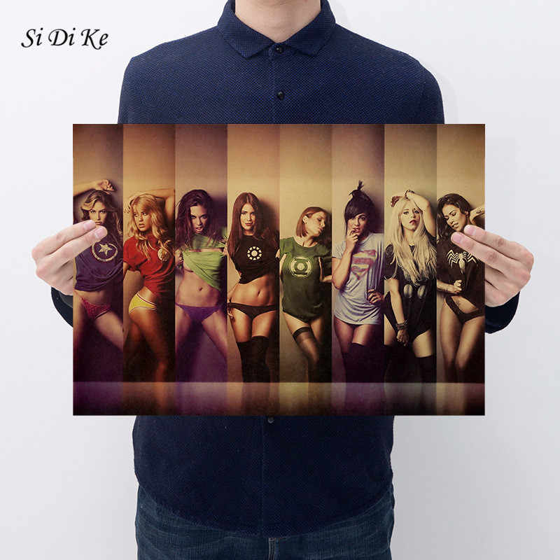 Si Di Ke Marvel Super Heroes Sexy Girl Vintage Posters for Home Decor Kraft Paper Poster Wall Sticker