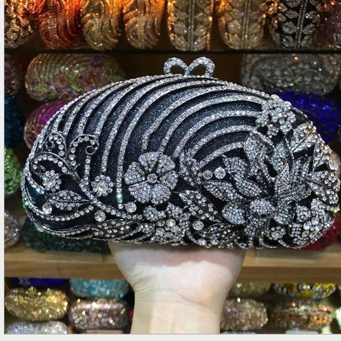 72c474d72b Gold black Luxury Crystal Diamond Evening Clutch Bag bridal Wedding Sparkly  Rhinestone Cocktail banquet green Bag pochette Purse
