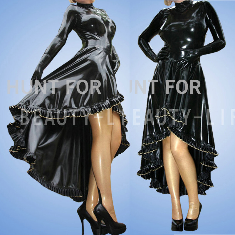 Latex party dress 100 natural long sleeve w ruffle miti layer hemline