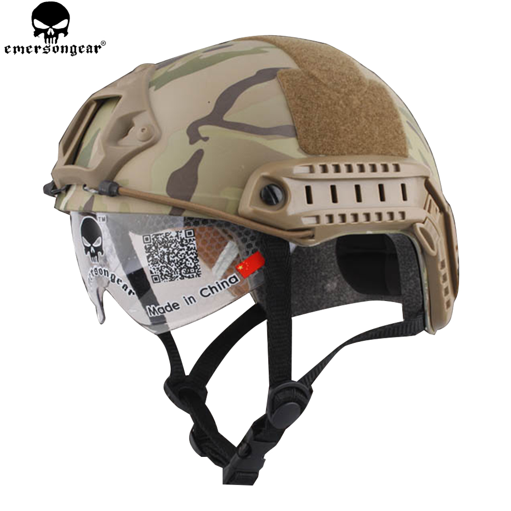 EMERSONGEAR Tactical Helmet With Protective Goggle Glasses Combat Hunting CS Anti-fog Helmet Protective Eyewear Helmet EM8820