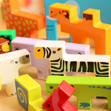 Free shipping Wooden animal creative blocks, Kids building blocks stereoscopic educational toys for children gift цена 2017